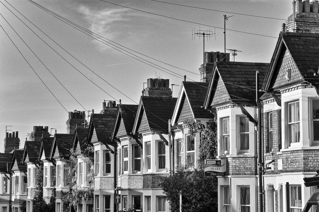 black and white houses